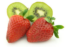 Juicy strawberry with kiwi Royalty Free Stock Images