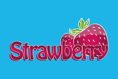 Juicy strawberry logo. Text and illustration with 3d effect. Can be used as logotype for your business/design project or for printing bag, t-shirt, phone case Royalty Free Stock Image