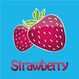 Juicy strawberry logo. Text and illustration with 3d effect. Can be used as logotype for your business/design project or for printing bag, t-shirt, phone case Royalty Free Stock Photos