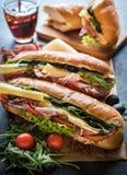 Juicy submarine sandwiches Stock Photography
