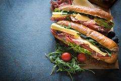 Juicy submarine sandwiches Stock Photo
