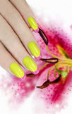 Juicy summer French manicure. Royalty Free Stock Photos