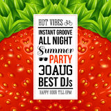 Juicy summer party poster. Optical strawberry background pattern Stock Image
