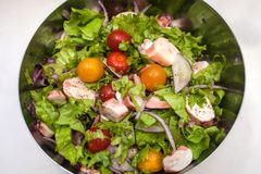 Juicy summer salad with fresh herbs, cherry tomatoes, squid and red onion. Healthy nutrition and weight loss royalty free stock photography