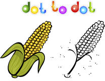 Juicy and sweet corn. Educational game for kids: connect numbers Stock Photography