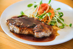 Juicy and tasty grilled pork steak Stock Photos
