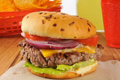 Juicy thick cheeseburger Stock Photo