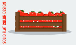 Juicy Tomato. Fresh vegetables in wooden crate. Flat style vector Stock Photos