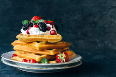 Juicy waffles Stock Photos