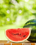Juicy watermelon against natural background Stock Photo