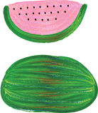Pink and Green Hand Painted Watermelon Stock Photo