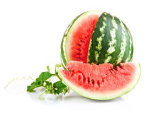 Juicy watermelon in cut with green leaf. On white background Stock Photo