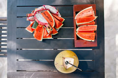 Juicy watermelon and dragon fruit with coconut milk vitamin vega Royalty Free Stock Image