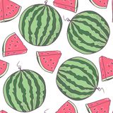 Juicy watermelon seamless pattern in vector Stock Photos