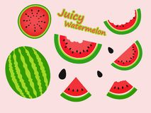 Juicy watermelon slices vector pattern vector illustration