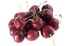 Juicy wet red cherries Stock Image