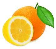 Juicy yellow lemon and orange on a white background isolated Royalty Free Stock Photos