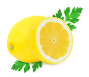 Juicy yellow lemon with parsley on a white background isolated Royalty Free Stock Photos