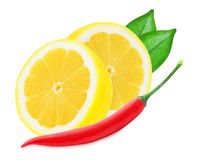 Juicy yellow lemon with a red chilli pepper Royalty Free Stock Photo