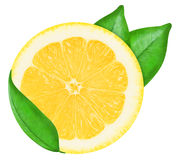 Juicy yellow lemon on a white background isolated Stock Images