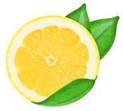 Juicy yellow lemon on a white background isolated Royalty Free Stock Photos