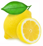 Juicy yellow lemons on a white background isolated Royalty Free Stock Images
