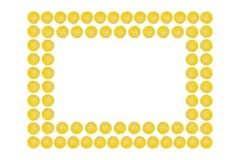 Juicy yellow slice of lemon fruit pattern background, flat lay with copy space, frame and border.  royalty free stock photography