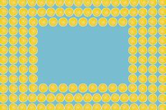 Juicy yellow slice of lemon fruit pattern background, flat lay with copy space, frame and border.  stock photos