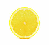 Juicy yellow slice of lemon on white background, clipping path Royalty Free Stock Photos