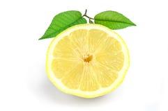 Juicy yellow slice of lemon on a white background isolated Royalty Free Stock Photo