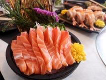 Free Juicy Yummy Delicious Tasty Raw And Fresh Fatty Sliced orange Salmon Sashimi Fish In Japanese Style Popular Seafood Royalty Free Stock Photography - 185104787
