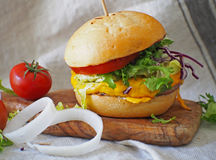 Juicy and yummy hamburger. Stock Image