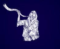 Juif soufflant le klaxon de kudu de moutons de shofar illustration stock