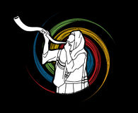Juif soufflant le klaxon de kudu de moutons de shofar illustration libre de droits