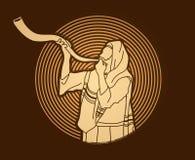 Juif soufflant le klaxon de kudu de moutons de shofar illustration de vecteur
