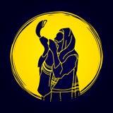 Juif soufflant le klaxon de moutons de shofar illustration de vecteur