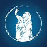 Juif soufflant le klaxon de moutons de shofar illustration libre de droits