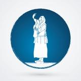 Juif soufflant le shofar illustration libre de droits