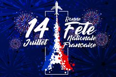 `14 Juillet - Bonne Fête Nationale Français` is the words for celebrate French Bastille Day in 14th July. The skoke of aircraft transform to Eiffel royalty free illustration