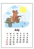 Juillet 2018 calendrier illustration libre de droits