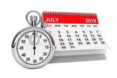 Juillet 2018 calendrier avec le chronomètre rendu 3d Image stock