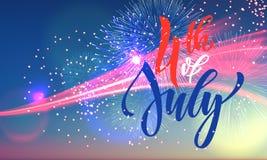 4 juillet carte de voeux de feux d'artifice des Etats-Unis Photographie stock libre de droits