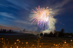 4 juillet feu d'artifice, style campagnard Images stock