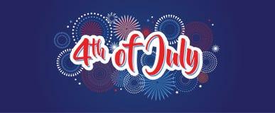 4 juillet fond de feux d'artifice, quatrième bannière de vecteur, décoration américaine de drapeau national, Jour de la Déclarati illustration libre de droits