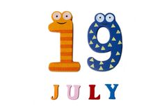 19 juillet Image du 19 juillet sur le fond blanc Photographie stock libre de droits