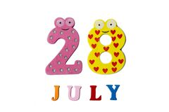 28 juillet Image du 28 juillet, sur un fond blanc Photographie stock libre de droits