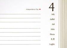 4 juillet journal intime Image libre de droits