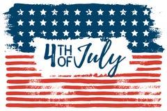 4 juillet la main de drapeau des Etats-Unis dessine les courses de brosse Fond grunge abstrait de vecteur illustration stock