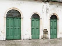 22 juillet 2018, la ville de Santos, São Paulo, Brésil, façade avec des portes de Casarão font Valongo, musée actuel de Pele image stock