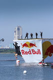 26 JUILLET 2015 MOSCOU : Jour rouge de flugtag de taureau Photos libres de droits